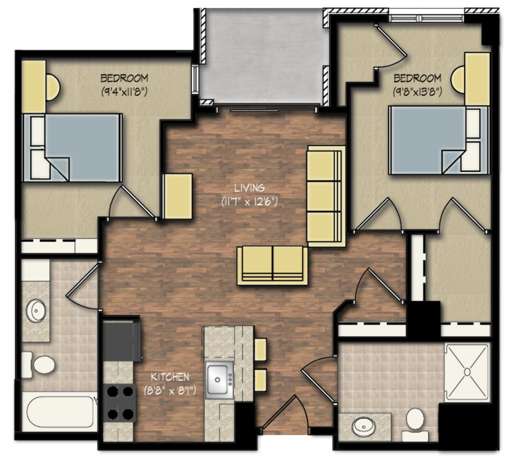Park Place apartments 2 bedroom floor plan