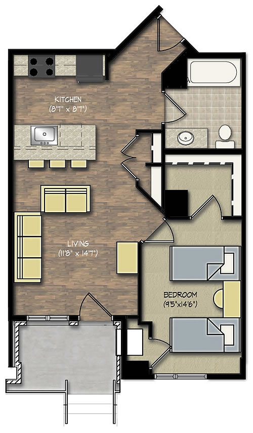 Park Place apts 1 bedroom floor plan