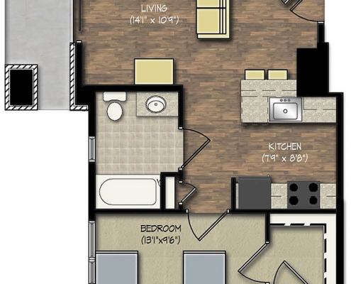 Park Place apts ADA 1 bedroom floor plan