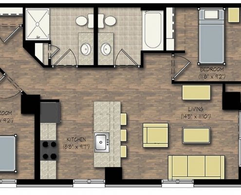 City View Apartment 2 Bedroom Floor Plan