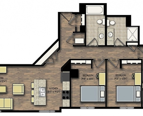 City View 3 Bedroom Apartment Floor Plan