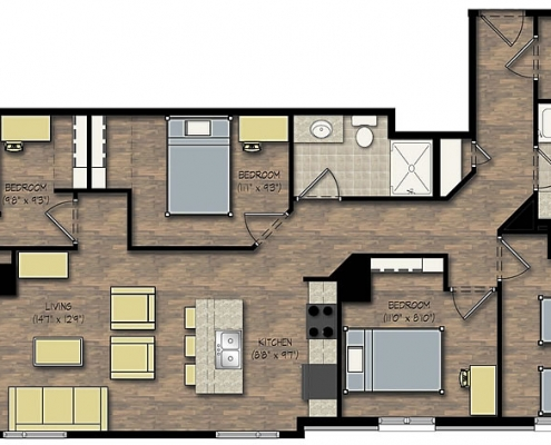 City View 4 Bedroom Apartment Floor Plan