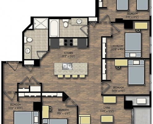 City View 5 Bedroom Apartment Floor Plan