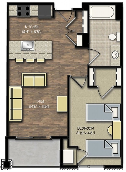 Park Place 1 Bedroom floor plan